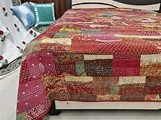 worldoftextile handmade kantha quilt vintage