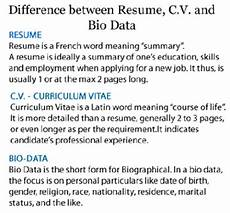 Resume And Biodata Difference Differences Among Resume Cv And Bio Data Freshers Jobs