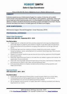 Spa Resume Sample Spa Coordinator Resume Samples Qwikresume
