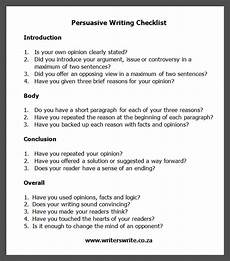 Persuasive Writing Essay Example Persuasive Writing Checklist Writers Write