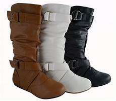 flache schuhe fashion mid calf faux leather flat boots style