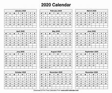 2020 Calendar Free Download Free Printable Year 2020 Calendar