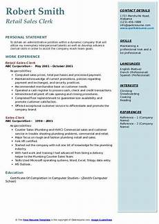 Retail Clerk Resume Sales Clerk Resume Samples Qwikresume