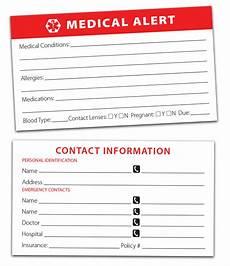 Medical Alert Cards Templates Medical Alert Cards 10 Pack Forgettingthepill Com