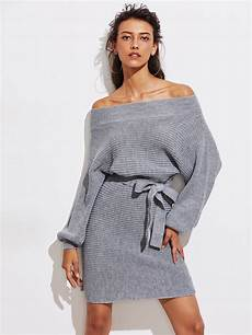 batwing sleeve self tie knit dress shein sheinside