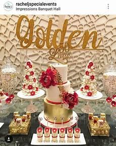 golden 50th birthday dessert table and decor