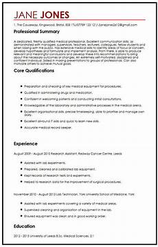 Medical Cv Template Free Cv Sample For Medical Students Myperfectcv