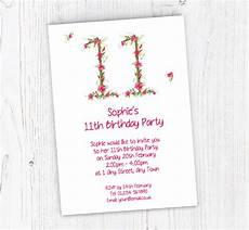 11th Birthday Party Invitation Wording Floral 11th Birthday Party Invitations Customise Online