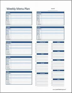 Free Weekly Menu Templates Weekly Menu Plan Template V2 Spreadsheetshoppe