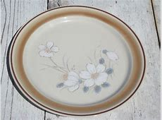 Watercolors stoneware dishes set for 4 retro Hearthside