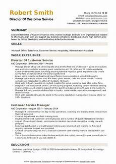 Example Of Customer Service Resumes Director Of Customer Service Resume Samples Qwikresume