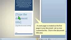 How To Create A Cover Page How To Create A Cover Page In Word 2010 Youtube