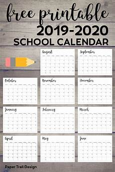 Blank School Calendar 2019 2020 Printable School Calendar Paper Trail Design