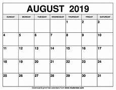 Printable Calendar August August 2019 Calendar Printable Templates On We Heart It