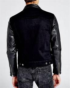 lyst the kooples leather sleeve denim jacket in black