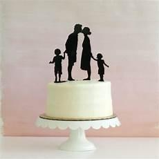 custom silhouette wedding cake topper with 2 children