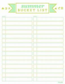 Bucket List Printable Template List Templates Free Templates Summer Bucket List