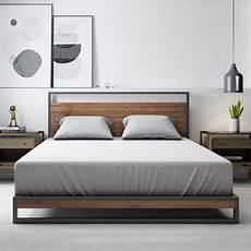 zinus ironline metal and wood platform bed frame