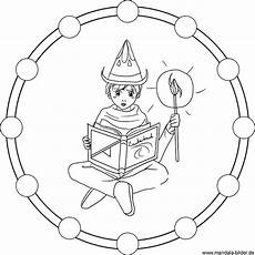 zauberlehrling als mandala ausmalbild zum kostenlosen