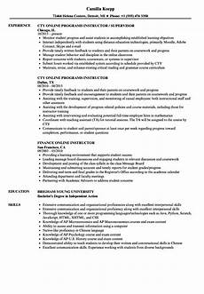 Online Instructor Resume Online Instructor Resume Samples Velvet Jobs