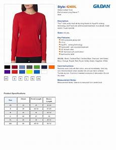 Gildan 5400 Size Chart Gildan 42400l Ladies Performance Long Sleeve T Shirt 7