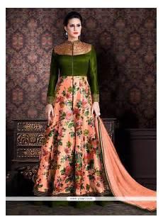 buy staring banarasi silk green and peach patch border