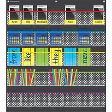 Small Pocket Charts For Teachers Black Polka Dots Storage Pocket Chart Tcr20750 Teacher