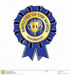 Employee Of The Month Award Best Employee Of The Month Blue And Golden Award Ribbon