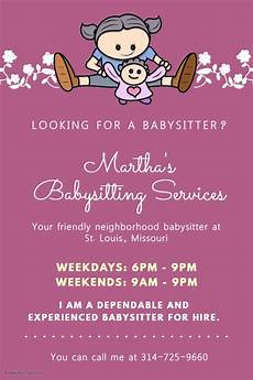Looking For A Sitter Purple Babysitter Poster With Illustration Babysitting