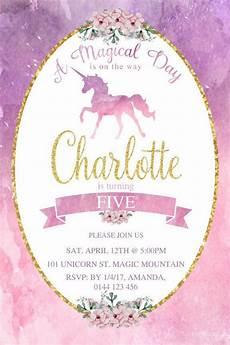 Printable Invitations At Home 1st Birthday Invitation Rainbow Unicorn Unicorn