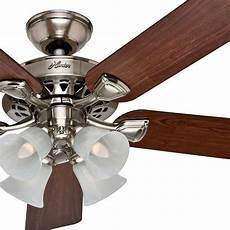 Ceiling Fan Light Hunter 52 Traditional Large Room Brushed Nickel Finish