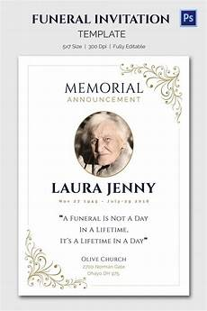 Memorial Announcement 15 Funeral Invitation Templates Free Sample Example