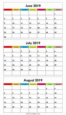 3 Month Calendar 2020 3 Month June July August 2019 Calendar Green Calendar