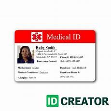 Medical Alert Cards Templates Medical Id Card Healthcare Hospital Badge Pinterest