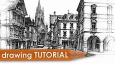 Architecture Design Drawing Techniques Drawing Tutorial Street Amp Architecture In Perspective