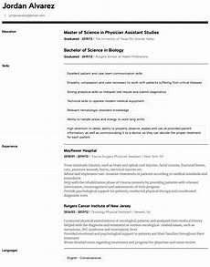 Physician Assistant Sample Resume Physician Assistant Resume Samples All Experience Levels