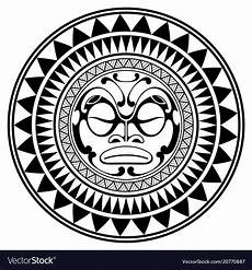 Polynesian Design Circle Polynesian Design Mask Frightening Masks Vector Image