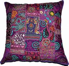 Sofa Pillow Covers 24x24 3d Image by On Sale 24x24 Indian Patchwork Pillow Cover Purple