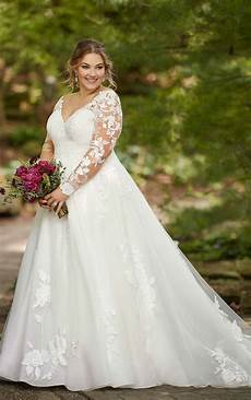 long sleeved plus size ballgown with floral lace essense