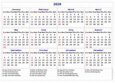 One Page Yearly Calendar 2020 2020 One Page Calendar Printable Calendar 2020