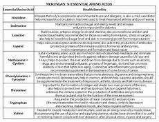 Amino Acid Benefits Chart Moringa The Super Food For Athletes Vitamins Minerals