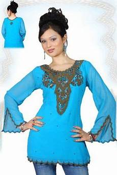 blue sleeves kurti tunic with front back beadwork 86