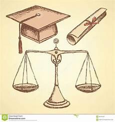 sketch jurisdiction education set stock vector
