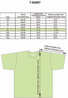 Universal T Shirt Size Chart Size Charts For Products Projoy Sportswears And Apparel