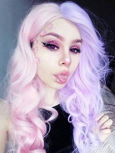 Half Pink Half Blue Half Pink And Half Lavender Color Wavy Synthetic Lace