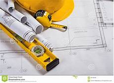 Architecture Equipment Architecture Blueprints And Work Tool Royalty Free Stock