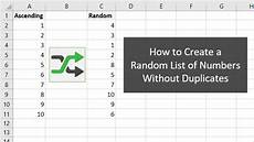 Excel Random Number How To Create A List Of Random Numbers With No Duplicates