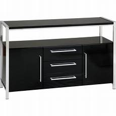 charisma 2 door 3 drawer sideboard black gloss chrome