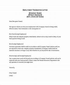 Employee Termination Letter Sample Free 9 Sample Termination Letter Templates In Pdf Ms Word