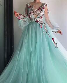 dresses by blue tulle floral embroidered puff sleeve prom dress